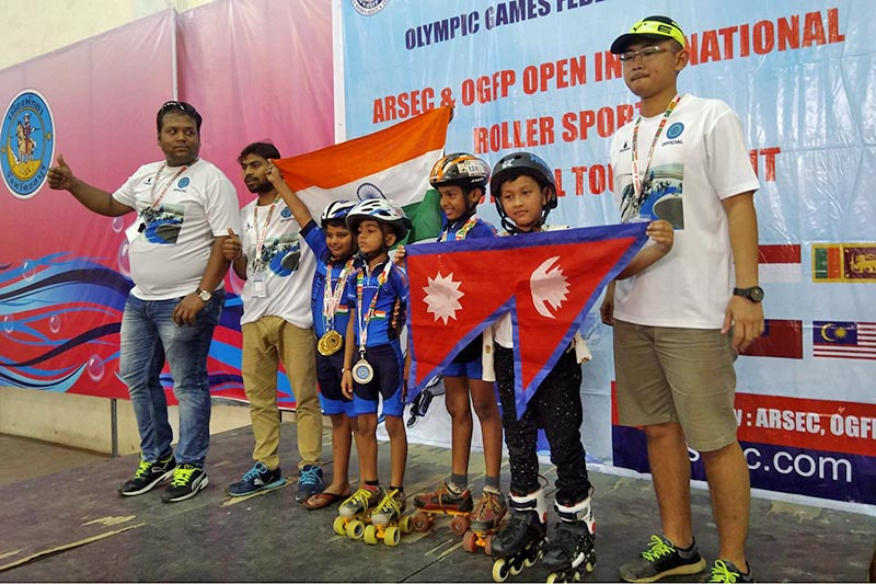 Nepal's Ananya Khadka along with other winners pose for a portrait in podium during the Open Roller Sports promotional Tournament in Pattaya of Thailand. Courtesy: Ramesh Khadka