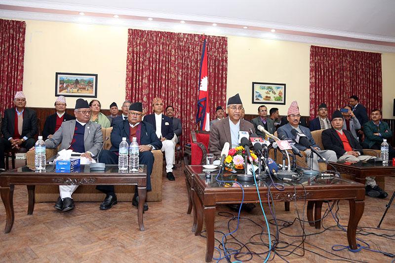 Prime Minister Sher Bahadur Deuba addressing the public from the PMu2019s residence in Baluwatar, Kathmandu, on Thursday, February 15, 2018. Photo: RSS