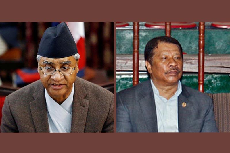 This combo shows Nepali Congress President Sher Bahadur Deuba (left) and former general secretary Prakash Man Singh. Photo: THT