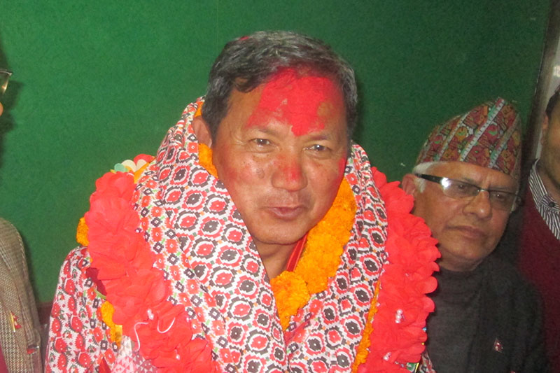 Leader Prithvi Subba Gurung pose for a portrait after being elected as UML Parliamentary Party leader in Pokhara, on Sunday, February 11, 2018. Photo: Rishi Ram Baral