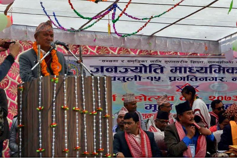 Chief Minister of Province 4 Prithvi Subba Gurung speaking at a programme, in Nawalparasi, on Saturday. Photo: THT