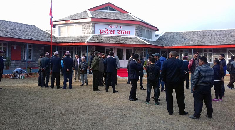 Provincial assembly members gather on the premises of the assembly building on the eve of the first meeting of Province 4, at the seminar hall of Town Development Training Centre in Nadipur, Pokhara of Kaski district, on Sunday, February 4, 2018. Photo: RSS