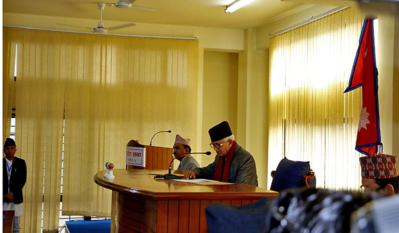 Dormani Paudel, Eldest PA member of Province 3, chairing the first ever Provincial Assembly election in Hetauda, Makwanpur, on Thursday, February 1, 2018. Photo: RSS