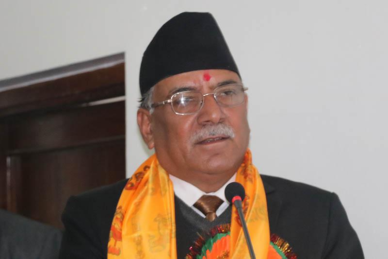 The CPN Maoist Centre Pushpa Kamal Dahal speaks at an interaction programme organised by the Nepal Hatchery Industries Association in Kathmandu, on Friday, February 02, 2018. Courtesy: CMPrachanda