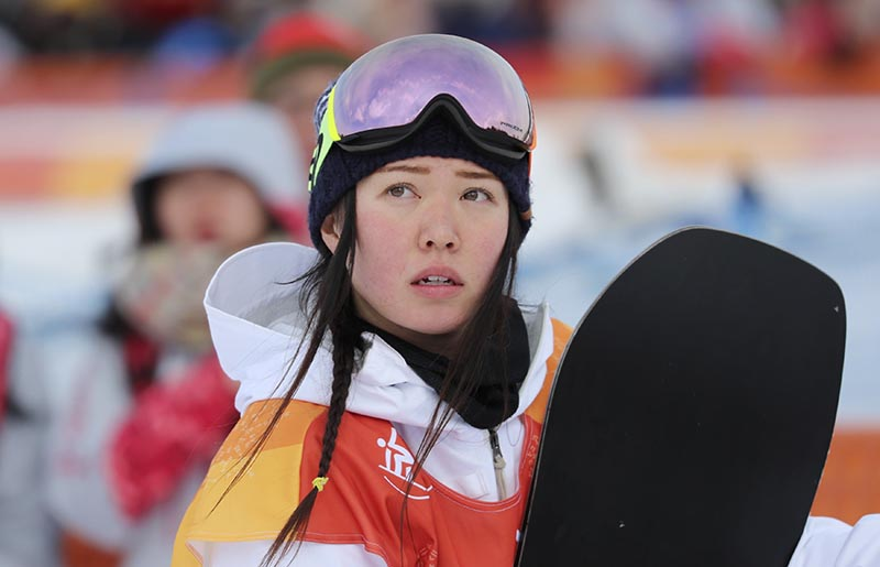 Haruna Matsumoto of Japan reacts after her run during Pyeongchang 2018 Winter Olympics, Women's halfpipe Qualificatin, at Phenix Snow Park, in Pyeongchang, South Korea, on February 12, 2018. Photo: Reuters
