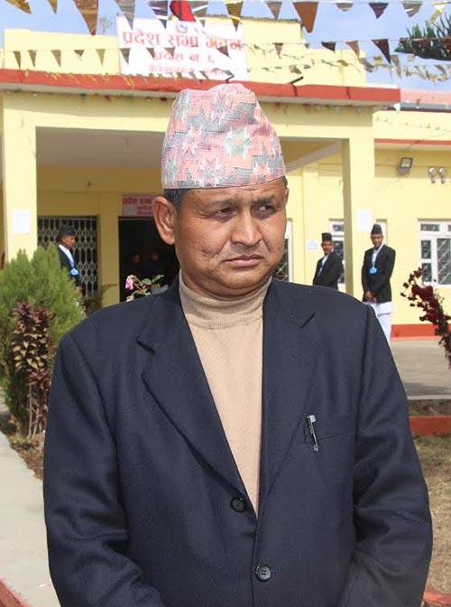 Raj Bahadur Shahi, who was elelctrerd speaker unopposed in Provomce 6. Photo: THT