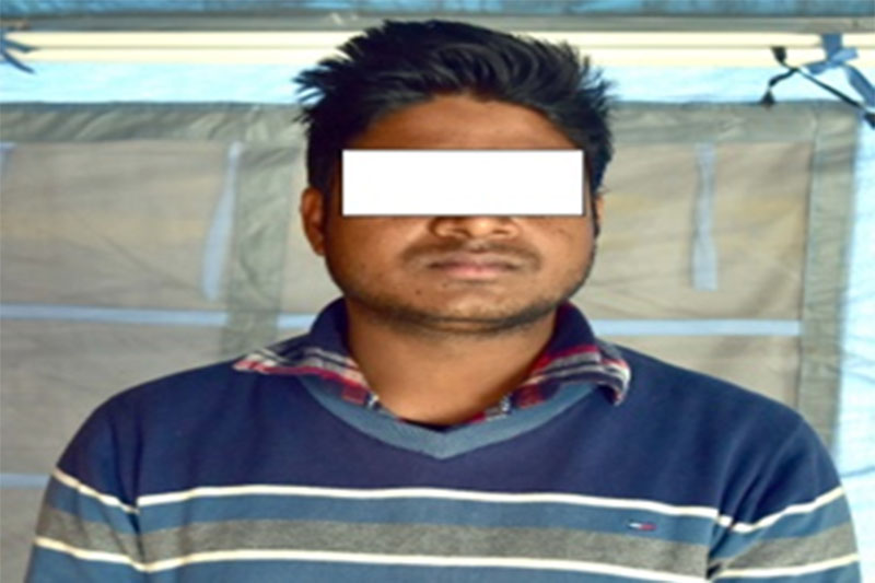 A suspect Ramesh Prasad Chauhan being made public by the Metropolitan Crime Division in Kathmandu, on Friday, February 23, 2018. Courtesy: MCD