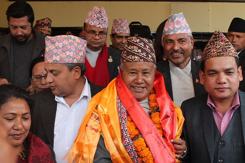 CPN-UML politburo member Sanu Kumar Shrestha after being elected the Speaker of the Provincial Assembly of Province 3, in Hetauda, Makwanpur district, on Saturday, February 10, 2018. Photo:Prakash Dahal