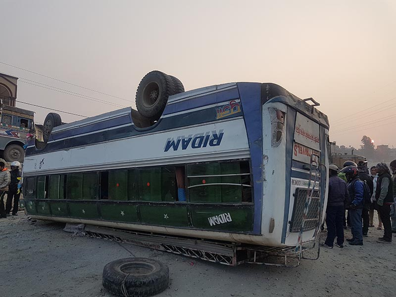 A view of a passenger bus that overturned in Satdobato Ring Road, on Wednesday, February 21, 2018. Photo: THT Online
