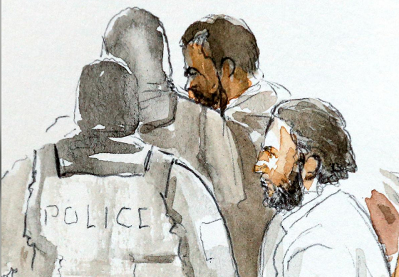 A court artist drawing shows Salah Abdeslam, one of the suspects in the 2015 Islamic State attacks in Paris, in court during his trial in Brussels, Belgium, February 5, 2018. Photo: Reuters.