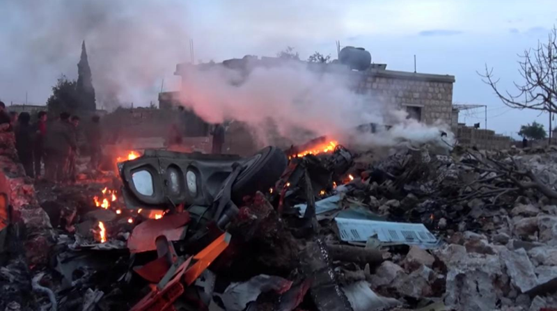 The scene shows, what according to Syrian rebels were fires caused by Russian military plane shot down by rebel forces near Idlib, Syria, reportedly on February 3, 2018. Photo: Reuters.