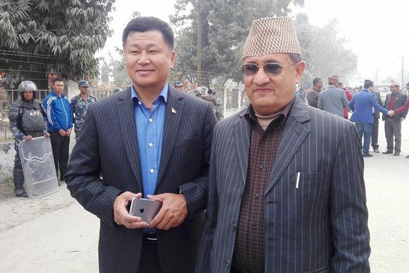 Chief minister aspirants of Province1 Sherdhan Rai (left) and Bhim Acharya. Photo: THT