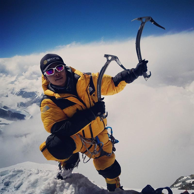 Lakpa Sherpa poses for the camera after standing a top the Mt Everest in 2016. Photo Courtesy: Lakpa Sherpa/File