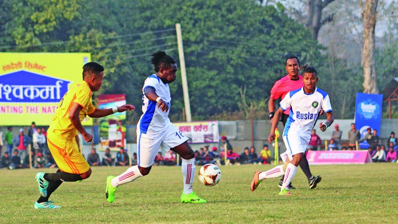 Players of Morang Football Club (left) and NJYC u0091Whiteu0092 in action during the Ruslan ninth Simara Gold Cup in Bara on Saturday, February 11, 2018. Photo: THT