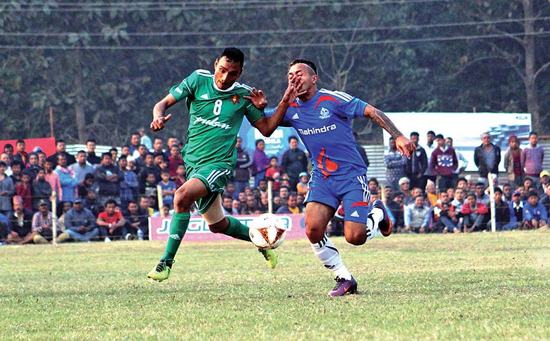 Action in the match between TAC and  Nepal APF (right) during their Ruslan ninth Simara Gold Cup match in Bara on Sunday. Photo: THT