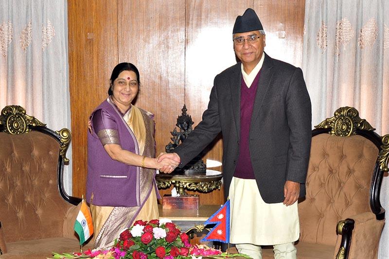 Minister for External Affairs of India Sushma Swaraj meeting Prime Minister Sher Bahadur Deuba, in Kathmandu, on Friday, February 2, 2018. Photo: THT