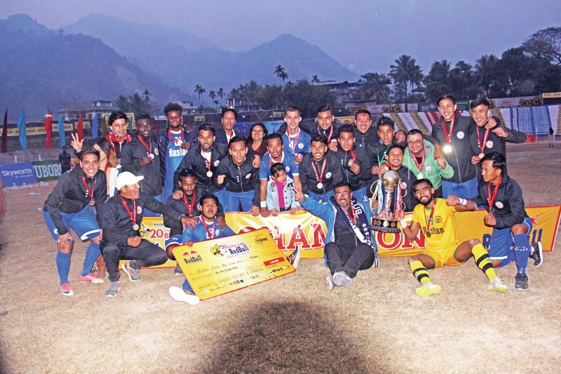 (Top) Ruslan Three Star Club players and officials celebrate after winning the 20th Budha Subba Gold Cup in Dharan, on Saturday, February 10, 2018. Photo: THT