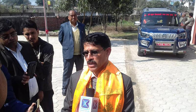 Province 7 Chief Minister Trilochan Bhatta responding to mediapersons after his appointment, in Dhangadi, Kailali, on Thursday, February 15, 2018. Photo: THT