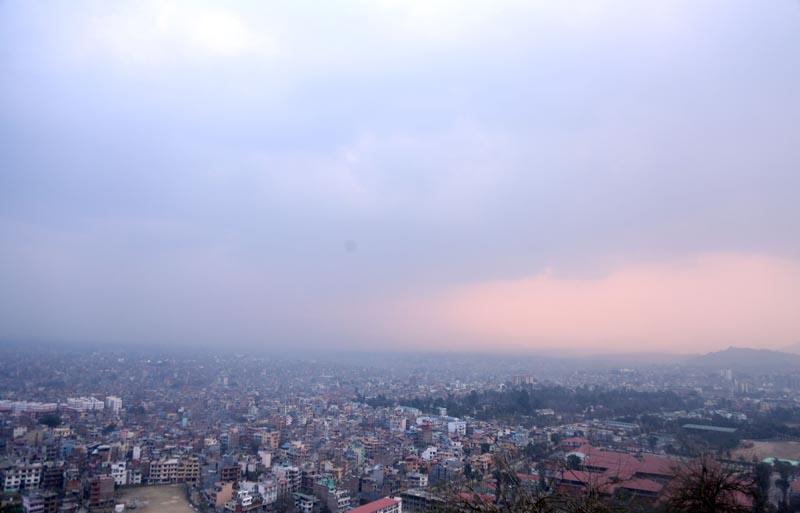 Spectacular view of the Kathmandu Valley from Swayambhunath Stupa,on Thursday, February 22, 2018. Photo: RSS