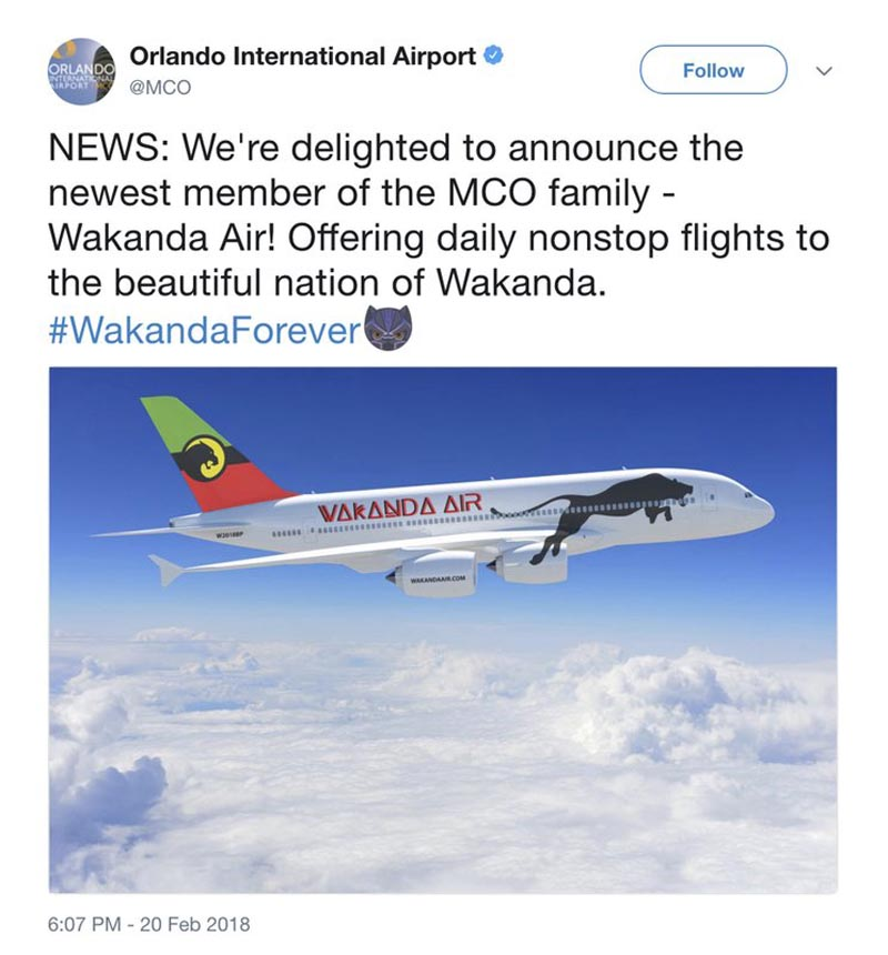 File - This image released by the Orlando International Airport shows a screengrab of a Feb. 20 tweet announcing flights to Wakanda, the fictional land from the blockbuster film, u0093Black Panther.u0094 Photo: AP