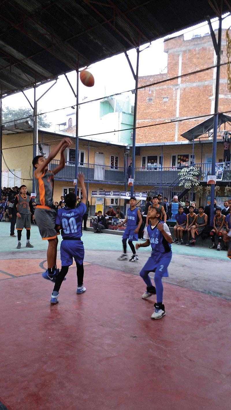 Players in action during the18th Wilson Hoops Inter-school Basketball Tournament in Kathmandu on Monday. Photo: THT