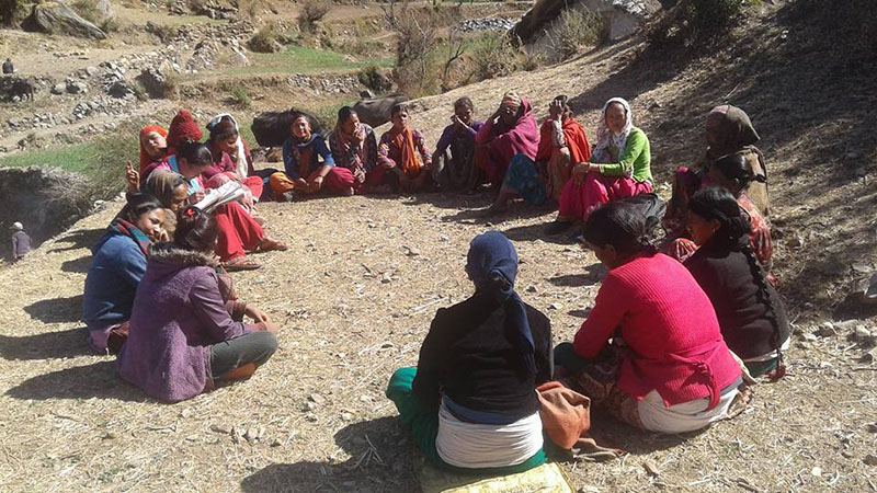 Women discussing the issue of child marriage, among others, in a womenu2019s group meeting at Pandusen, in Budhinanda Municipality-10, Bajura, on February 28, 2018. Photo: Prakash Singh