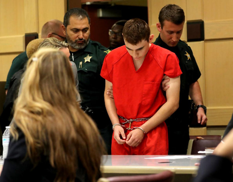 Nikolas Cruz, facing 17 charges of premeditated murder in the mass shooting at Marjory Stoneman Douglas High School in Parkland, appears in court for a status hearing before Broward Circuit Judge Elizabeth Scherer in Fort Lauderdale, Florida, U.S. February 19, 2018. Photo: Reuters
