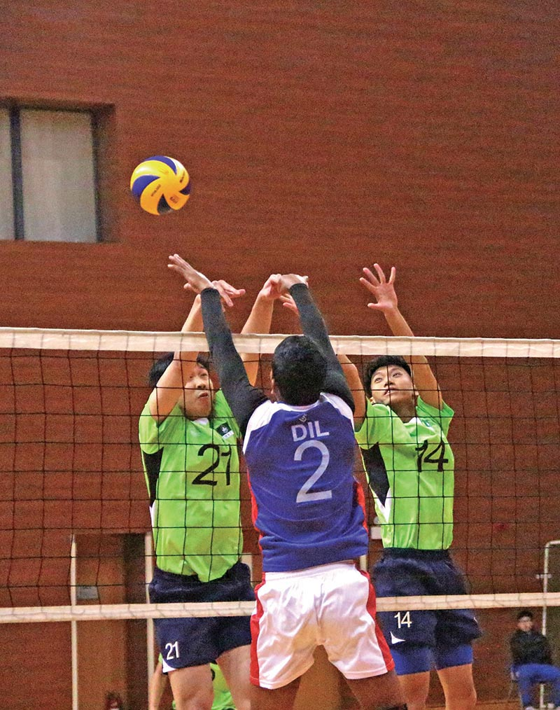 Players of Nepal (front) and Macau in action during their friendly volleyball match in Macau on Wednesday. Photo Courtesy: NSJF