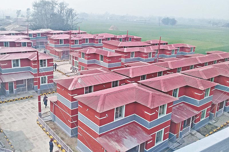 A view of an integrated model settlement consisting of 47 houses constructed for the flood-hit Dalit families of Santapur on the initiative of Dhurmus Suntali Foundation, in Santapur of Chandrapur Municipality, Rautahat, on Tuesday, February 6, 2018. Photo: RSS