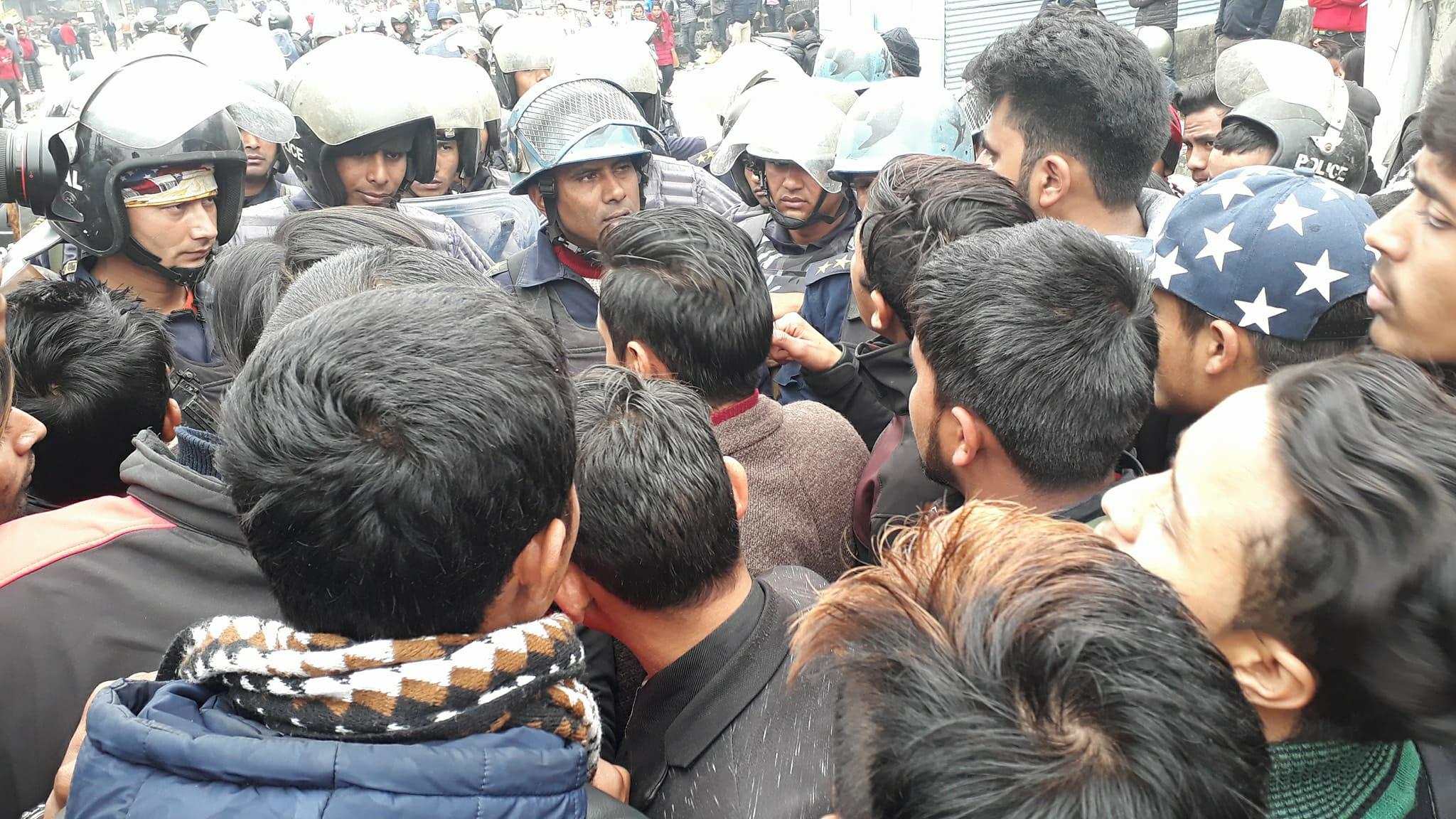 Police and students face-off at Prithvi Narayan Campus Vicinity. Photo: Rishi Ram Baral