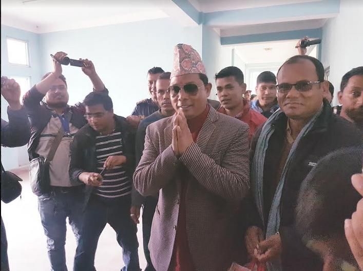 Resham Lal Chaudary seen on the premises of Kailali District Court on Monday, Feb 26, 2018. PHOTO: Tekendra Deuba