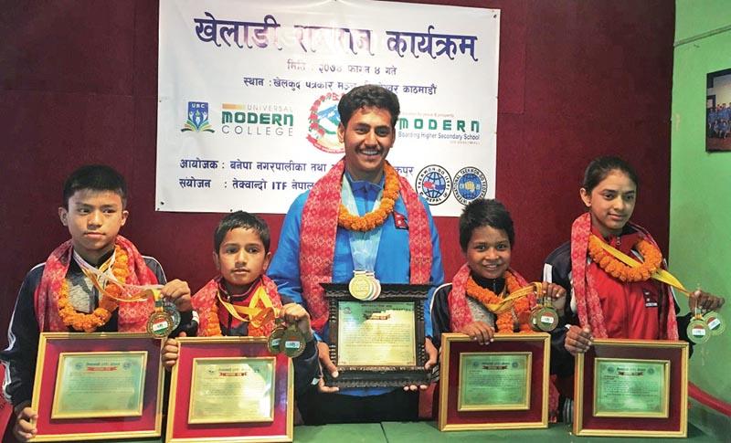 Nepali taekwondo players after a felicitation programme in Kathmandu on Friday, February 17, 2018. Photo: THT