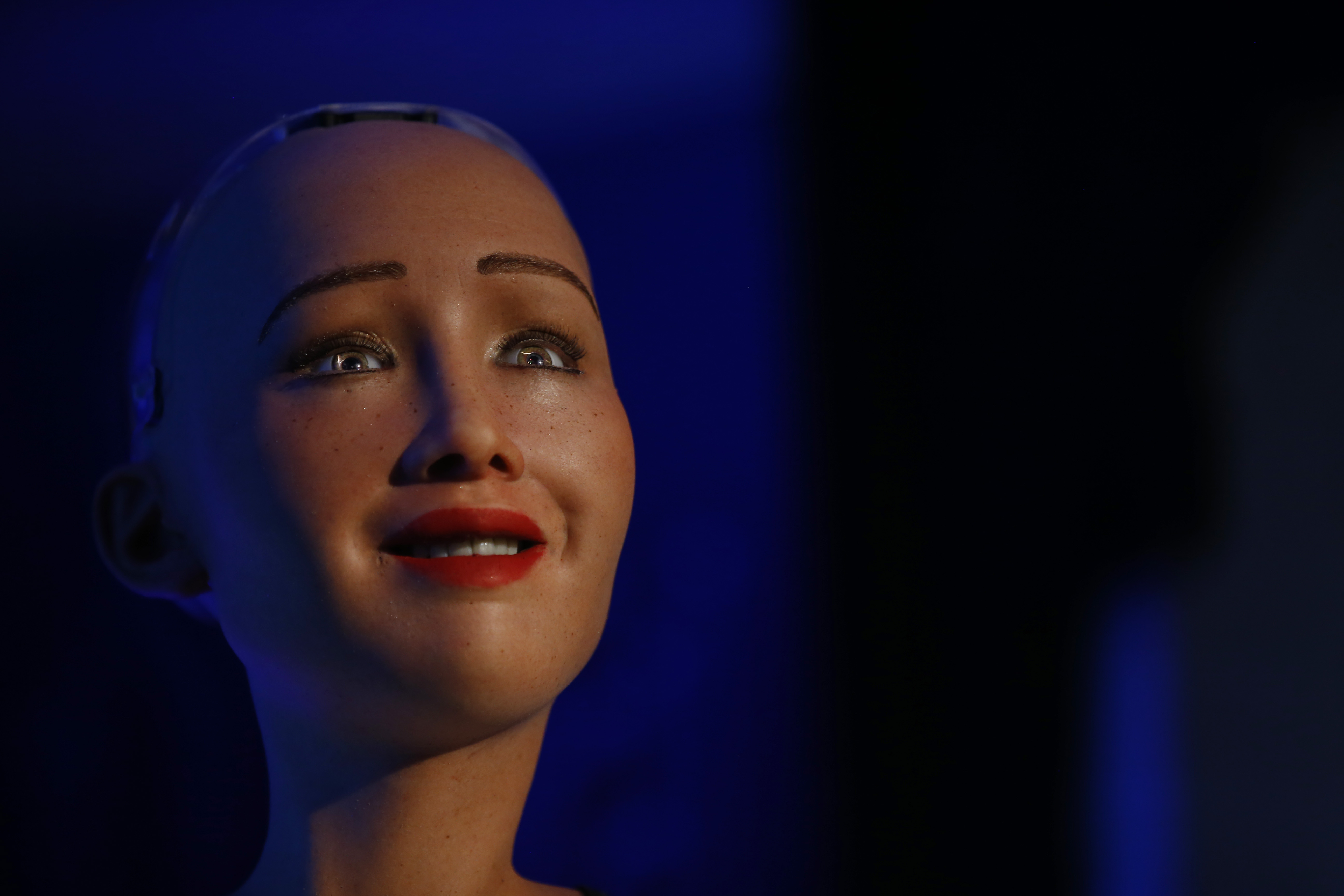Sophia, a humanoid robot with Saudi Arabian citizenship speaks during the United Nation's innovation conference in Kathmandu, Nepal on March 21, 2018. Sophia, who is now a citizen of Saudi Arabia, is the most advanced robot with artificial intelligence developed by a Hong Kong, based company Hanson Robotics. Photo: Skanda Gautam