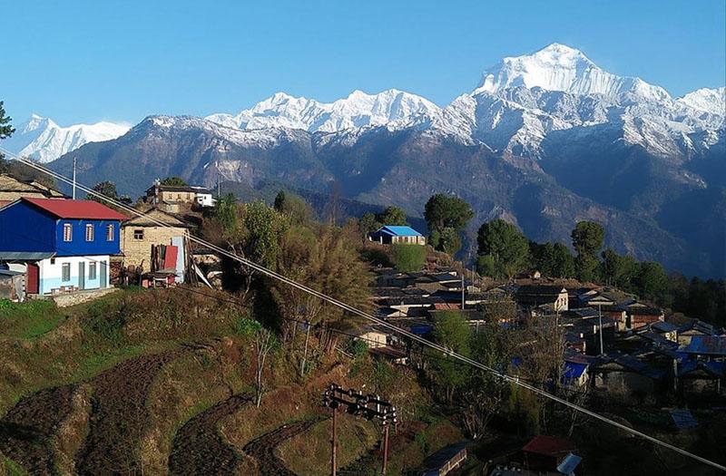 A view of Mount Dhaulagiri is seen from Annapurna - Dhaulagiri trail that adornes touristic Tikot villagein Annapurna Rural Municipality-7 of Myagdi district, on March 22, 2018. Photo: RSS