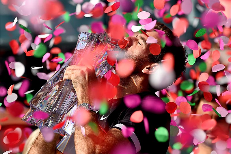 Juan Martin Del Potro holds the championship trophy after defeating Roger Federer (not pictured) in the men's finals in the BNP Paribas Open at the Indian Wells Tennis Garden, in Indian Wells, California, USA, on March 18, 2018. Photo: Jayne Kamin-Oncea-USA TODAY Sports via Reuters