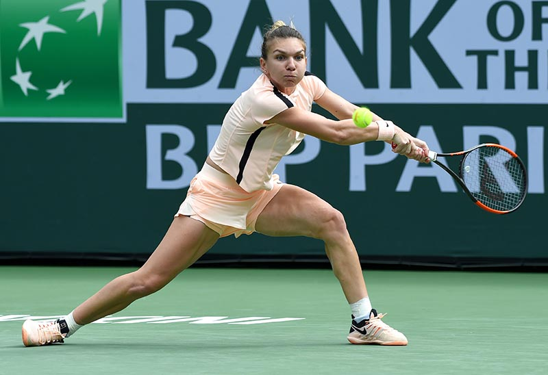 Simona Halep during her quarterfinal match against Petra Martic (not pictured) in the BNP Paribas Open at the Indian Wells Tennis Garden, in Indian Wells, CA, USA, on March 14, 2018. Photo: Jayne Kamin-Oncea-USA TODAY Sports via Reuters