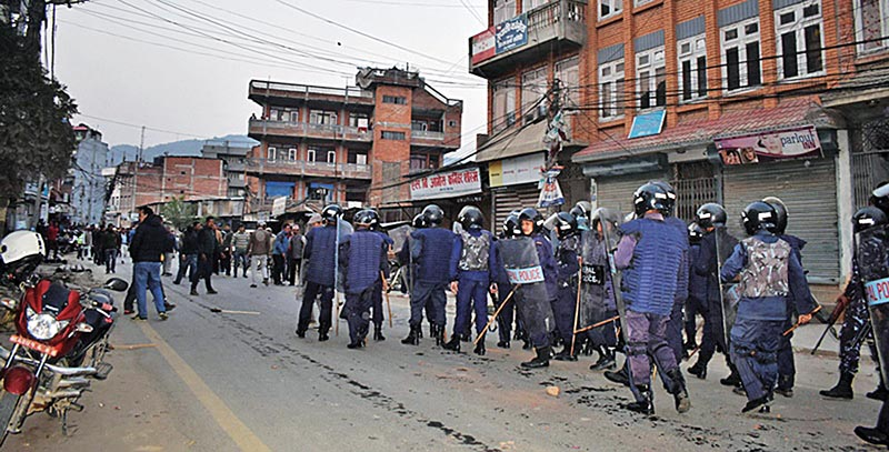 Police personnel deployed to maintain security during a demonstration by Nepali Congress cadres, in Banepa, on Saturday. Photo: RSS