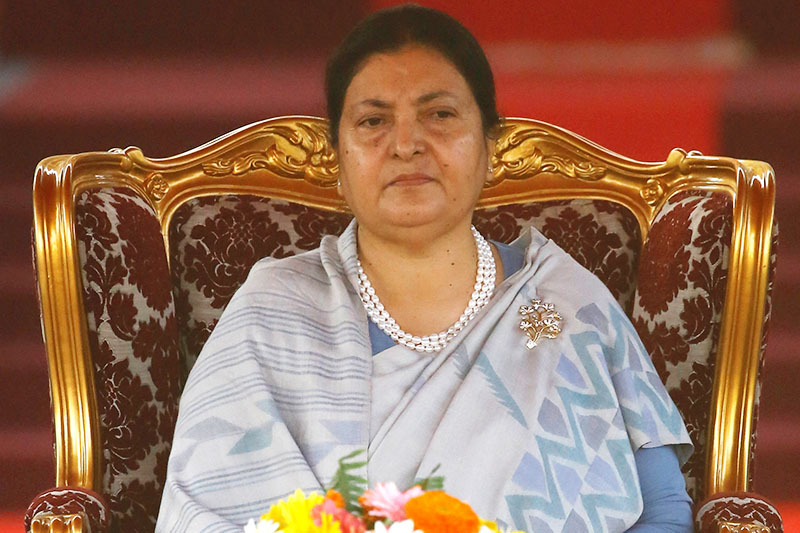 Newly elected Nepali President Bidhya Devi Bhandari attends an oath of office ceremony at the presidential building Shital Niwas in Kathmandu, Nepal, March 14, 2018. Photo: Reuters
