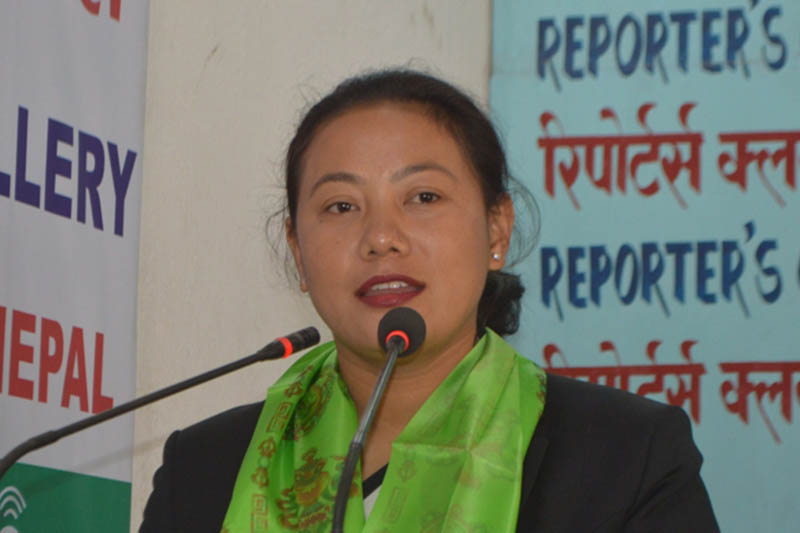 Minister for Drinking Water and Sanitation Bina Magar speaking at an interaction programme in kathmandu, on Wednesday, March 21, 2018. Courtesy: Reporters Club
