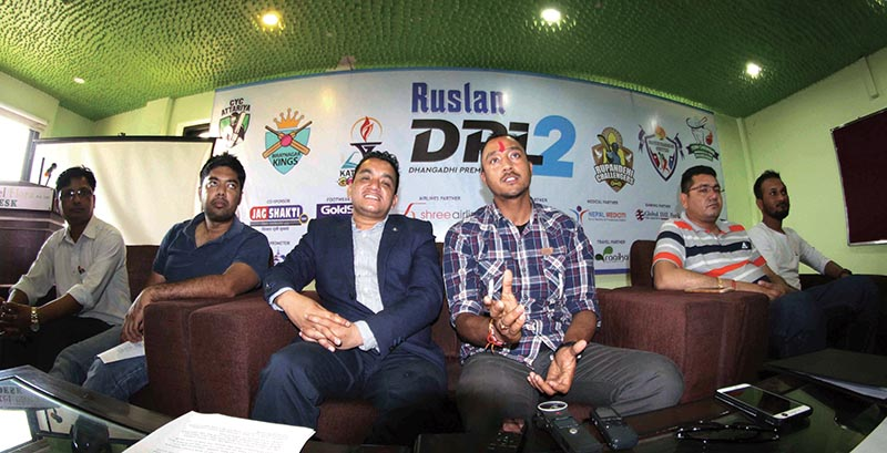 Nepal national cricket team skipper ParasKhadka (third from right) speaks as DCA President SubashBahadurShahi (third from left) and others look on during a press meet in Dhangadhi on Thursday. Photo: Udipt Singh Chhetry/ THT