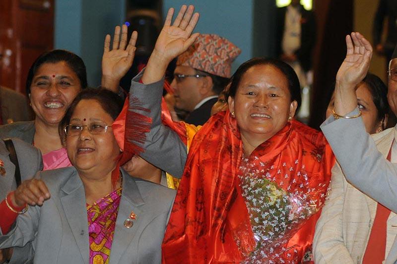 Newly elected Deputy Speaker of the HoR Shiva Maya Tumbahamfe waving to supporters, at the Parliament building, in Kathmandu, on Friday, March 16, 2018. Photo: Balkrishna Thapa Chhetri/THT