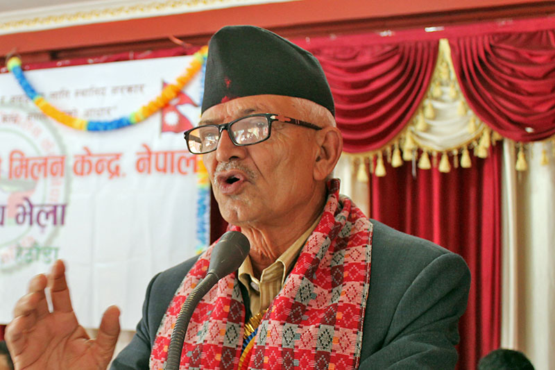 CM Paudel addressing central gathering of Karmachari Milan Kendra in Hetauda, on Friday, March 09, 2018. Photo: Prakash Dahal