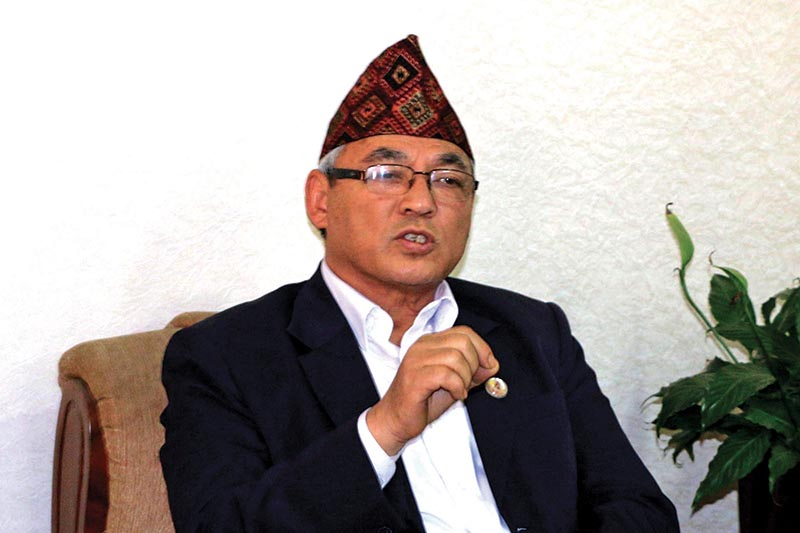 Home Minister Ram Bahadur Thapa speaking to journalists, in Kathmandu, on Sunday, March 11, 2018. Photo: THT