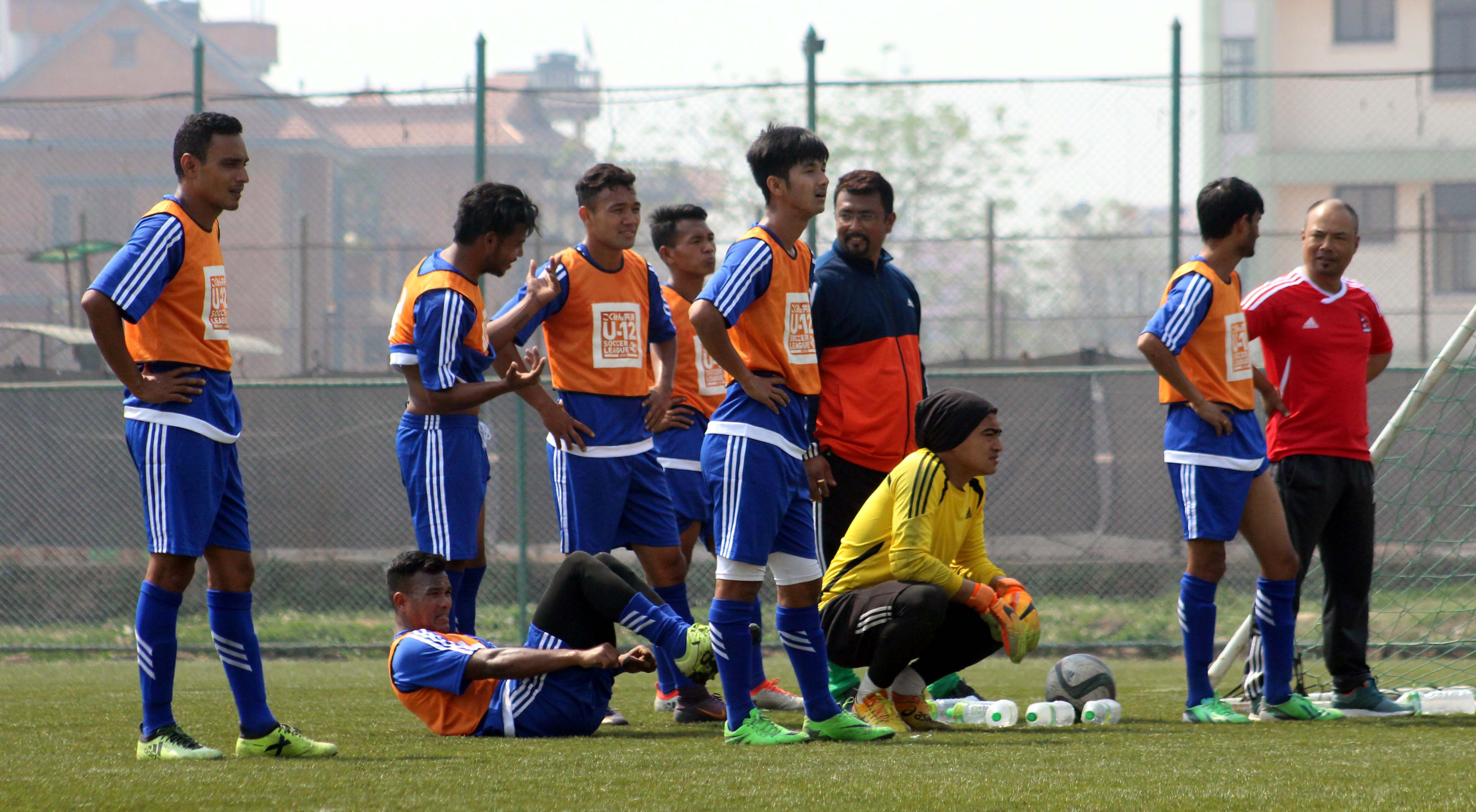 National team players attending a training session at ANFA Complex Ground, Satdobato, Lalitpur, on Tuesday, March 20, 2018. Photo Courtesy: ANFA