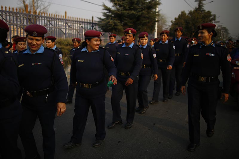 Women of Nepal Police march in a rally held to mark the 108th International Women's Day organised by the Ministry of Women, Children and Social Welfare in Kathmandu, on Thursday, March 8, 2018. Photo: Skanda Gautam/THT