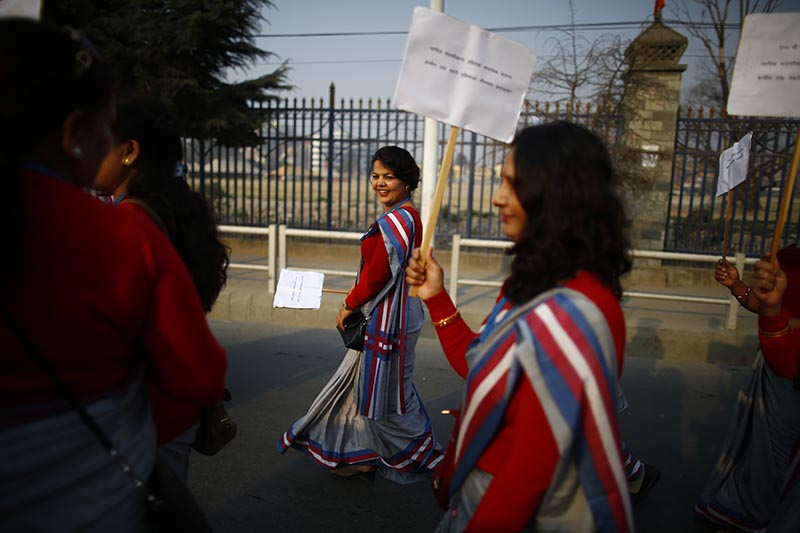 Women march in a rally held to mark the 108th International Women's Day organised by the Ministry of Women, Children and Social Welfare in Kathmandu, on Thursday, March 8, 2018. Photo: Skanda Gautam/THT