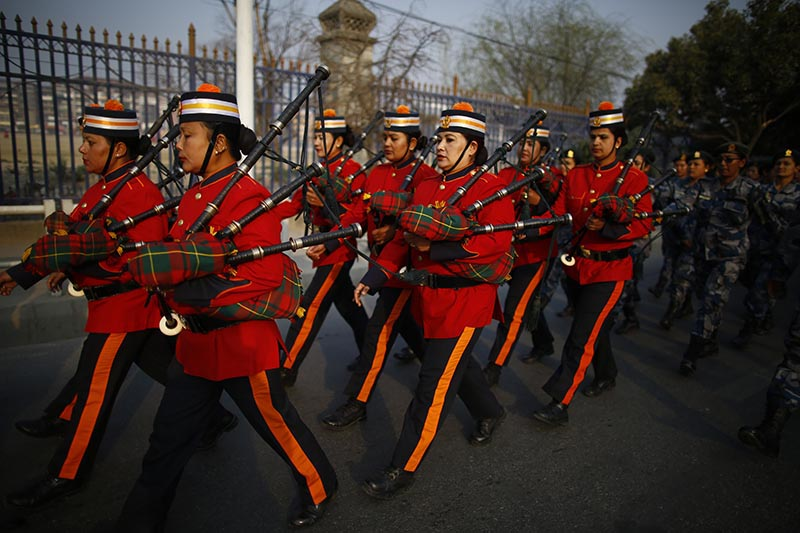 Women band members of Armed Police Force participate in a rally held to mark the 108th International Women's Day organised by the Ministry of Women, Children and Social Welfare in Kathmandu, on Thursday, March 8, 2018. Photo: Skanda Gautam/THT