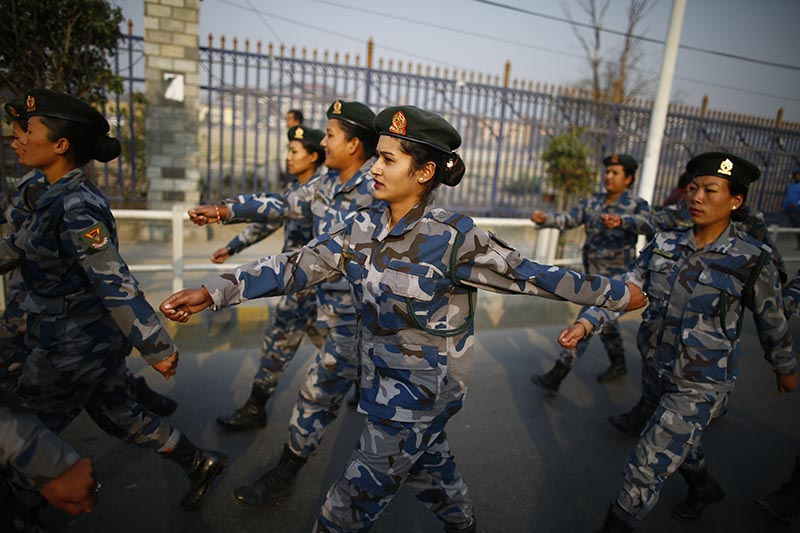 Women of Armed Police Force march past  in a rally held to mark the 108th International Women's Day organised by the Ministry of Women, Children and Social Welfare in Kathmandu, on Thursday, March 8, 2018. Photo: Skanda Gautam/THT