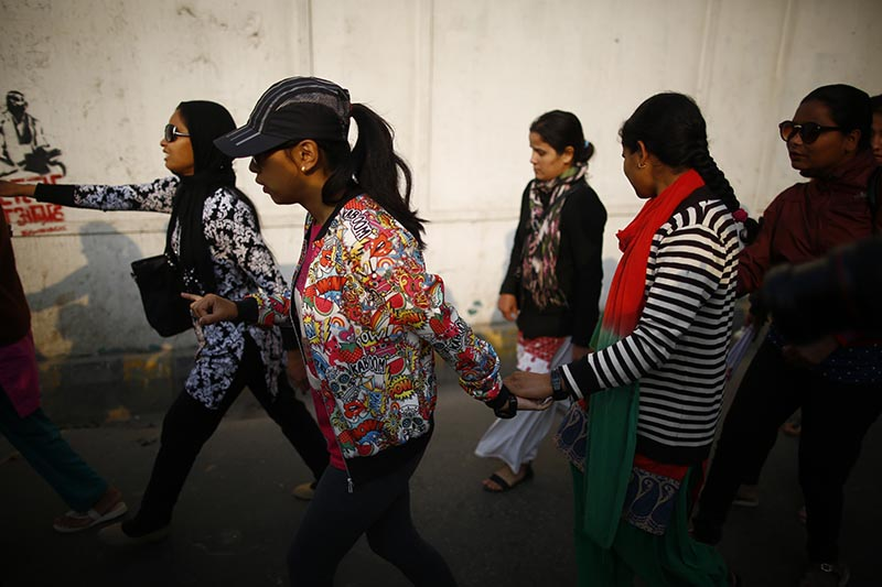 Visually impaired women participate in a rally held to mark the 108th International Women's Day organised by the Ministry of Women, Children and Social Welfare in Kathmandu, on Thursday, March 8, 2018. Photo: Skanda Gautam/THT
