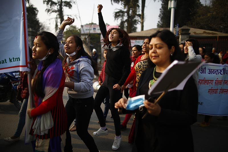 A group of girls chants slogan in a rally held to mark the 108th International Women's Day organised by the Ministry of Women, Children and Social Welfare in Kathmandu, on Thursday, March 8, 2018. Photo: Skanda Gautam/THT
